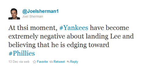 Sherman Tweet Yankees Out